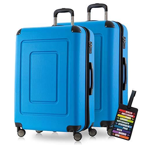 Happy Trolley - 2er Koffer-Set Hartschalen-Koffer Reisekoffer Lugano sehr leicht, TSA, 76cm 113L (2XL), Cyan Blau