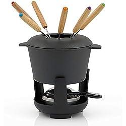 BBQ-Toro Service à Fondue en Fonte pour 6 Personnes 13 pièces avec brûleur et fourchettes quantité de Remplissage 1 Litre de Chocolat au Lait Induction au Fromage (Noir Déjà Préetabli)