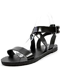 Mujer Zapatos Planos Vendaje XYM-6602-1 Hebilla De Cinturón De Metal Peep-Toe Planas Chanclas Sandalias Romanas...