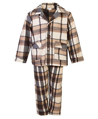 Kinder Fleece Pyjama Set Jungen Mädchen Knopfverschluss Hemd Hose Nachtwäsche - Beige, 104 (Jungen Fleece Pyjama-hosen)