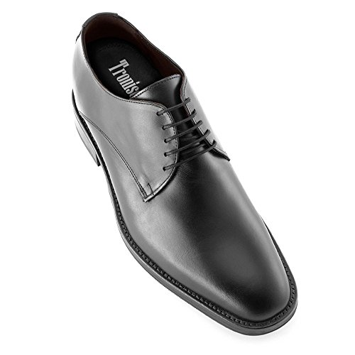 Masaltos scarpe con rialzo da uomo che aumentano l'altezza fino a 7 cm. fabbricate in pelle. modello tokio nero 44