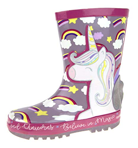 Girls 3D Unicorn Rubber Wellington Boots