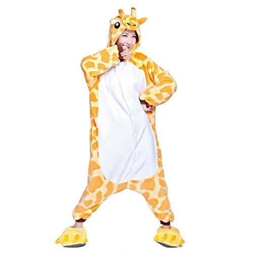 Adulte Unisexe Cosplay Pyjama Kigurumi Girafe Combinaison Animaux Costume Ensemble de Pyjama Soirée de Déguisement Vêtements de Nuit (L)