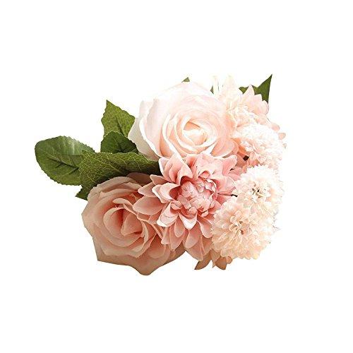 Aolvo bouquet fiori seta artificiali, rose dalie melaleuca fiori di seta bouquet per per interni matrimonio casa giardino bar (8 pcs)