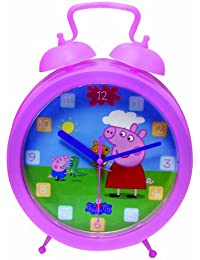 Peppa Pig Kids Analog Time Wrist Watch Easy Fasten Quartz with Velcro Strap and Twinbell Clock for Wall or Bedside Bedroom Decorations Gift Set Ideal for Teaching and Learning