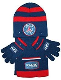 psg-ensemble bonnet gants écharpe paris saint germain-bleu et rouge-garçon