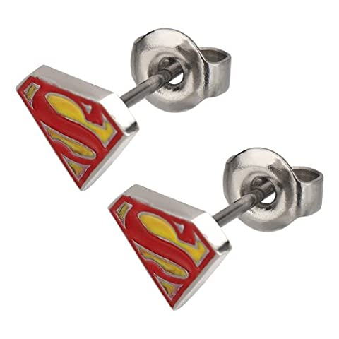 Stainless Steel Post with Red and Yellow Epoxy Superman Logo Stud Diamond Shape Earrings by DC Comics