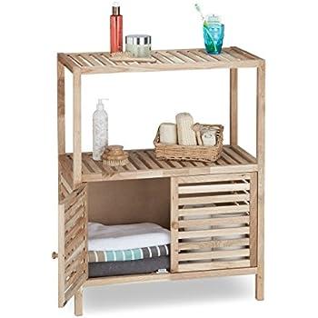 Amazon.De: Relaxdays Badschrank Holz Mit 3 Ablagen, Breites