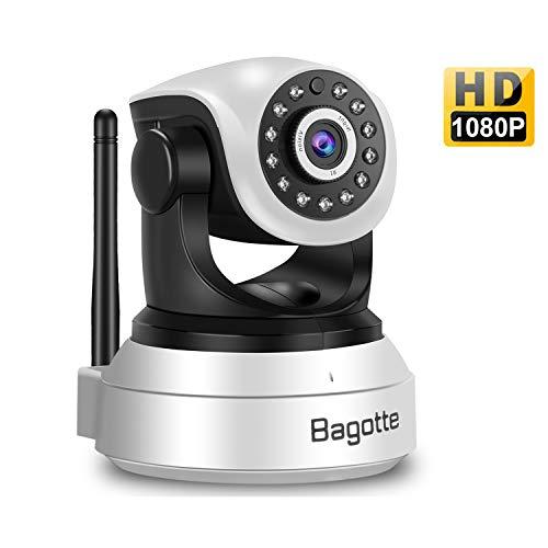 Bagotte Telecamera Wi-Fi Interno Telecamera di Sorveglianza Wireless HD 1080P con Sensore di Movimento, Visione Notturna, Audio Bidirezionale, Videocamera IP per Casa/Baby Monitor