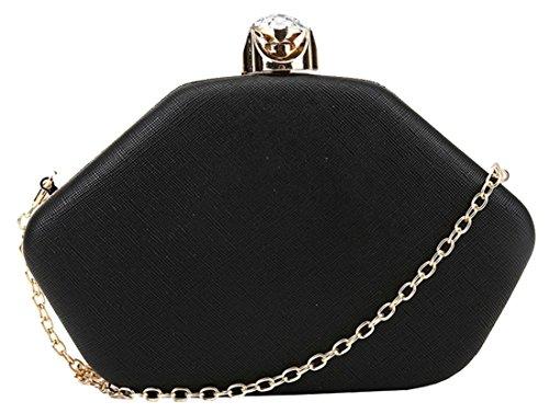 Hex de Kukubird Shauna en forme de sac à main 3D Prom Party pochette avec sac à poussière Kukubird Black