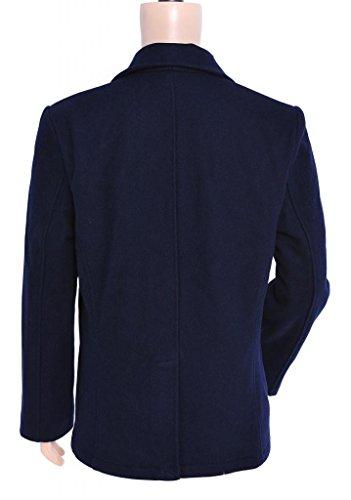 Seibertron Herren Wollmantel Pea Coat USN Marine Jacke Herren Navy Peacoat Mantel Winterjacke Übergangsjacke Blau
