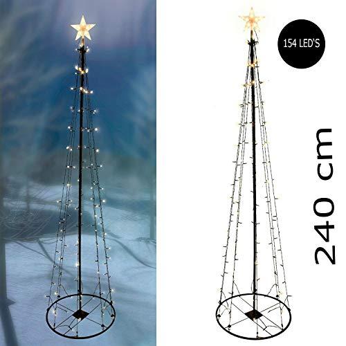 XXL Weihnachtsdekoration Weihnachtsbeleuchtung LED Metall Weihnachtsbaum mit 8 Funktionen 154 LEDs 240cm warmweiß