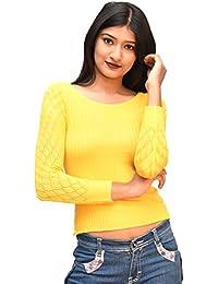 Otia Woolen Top - Yellow Designer Fancy Stylish Sweater Pullovers for Women Ladies Girls - 3/4 Sleeve Winter Woollen Sweatshirt Tops for Saree Jeans