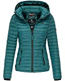 Marikoo SAMTPFOTE Damen Steppjacke - Leichte Gesteppte Jacke Übergangsjacke mit Kapuze - Deep Green (S)