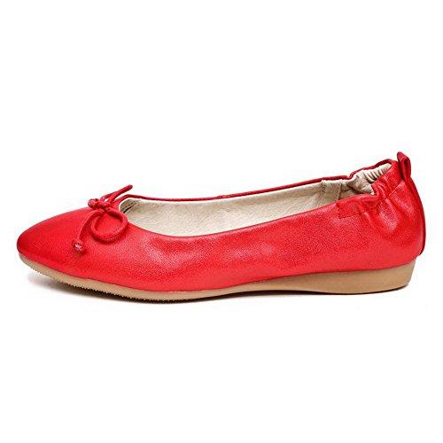 VogueZone009 Damen Ohne Absatz Rein Ziehen Auf Lackleder Spitz Zehe Flache Schuhe Rot
