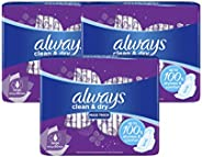 Always Clean & Dry Maxi Thick, Large Sanitary Pads With Wings, 3 x 60