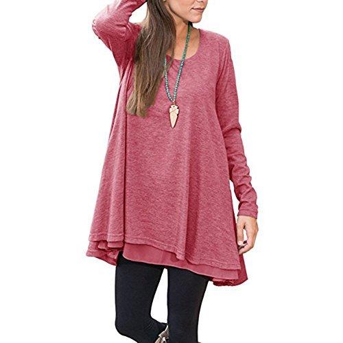 FeelinGirl Blusa Camisa Falda Mangas Largas Encaje para Mujer Rojo M