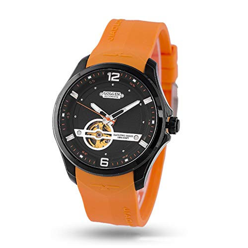 RYX Vigilanza dell'orologio Meccanico Casuale Casuale dell'orologio degli Uomini del quadrante di Gomma dell'orologio Meccanico degli Uomini,Orange