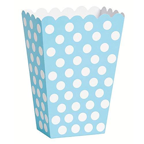 Unique Party- Paquete de 8 cajas para palomitas a lunares, Color azul claro, 59299)