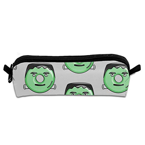 On Grey Halloween Student Polyester Double Zipper Pen Box Boys Girls Pencil Case Cosmetic Makeup Bag Pouch Stationery Office School Supplies 21 X 5.5 X 5 cm ()