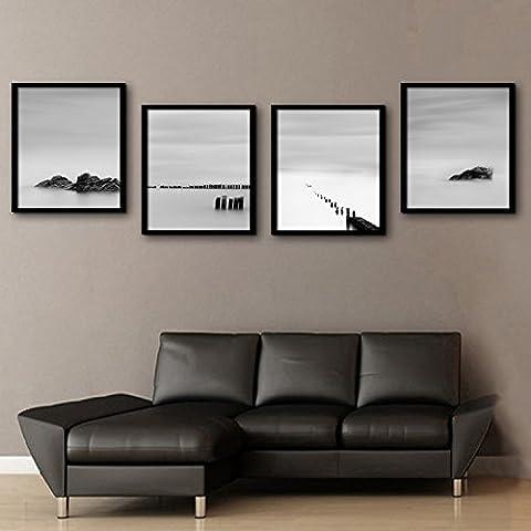 Modylee Agua piedra enmarcado lona Videos decorativos pinturas salón dormitorio 4 piezas Cuadro en Lienzo , 50*70*4