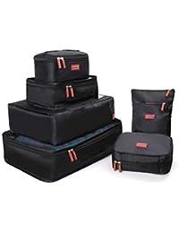 Joyoldelf Ensemble de 7 Organisateurs de Voyage Organisateur Valise Sacs de Rangement Cube, 7 Pcs Organisateur de Bagage de Sac Voyage pour des Vêtements, Bleu