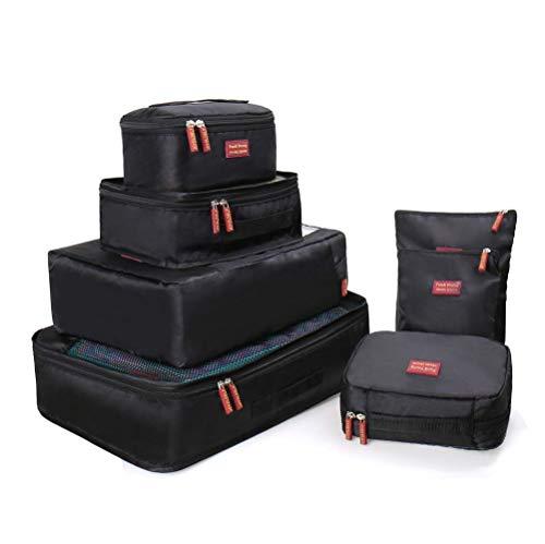 Joyoldelf Ensemble de 7 Organisateurs de Voyage Organisateur Valise Sacs de Rangement Cube, Organisateur de Bagage de Sac Voyage pour des Vêtements (Noir)