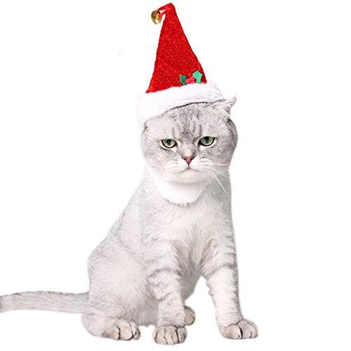 Bärtigen Kostüm Einfach - ANIAC Pet Weihnachten Klettverschluss bärtigen Santa Hat mit Glöckchen für Katzen Kleine Hunde Kätzchen Kitty Puppy rot