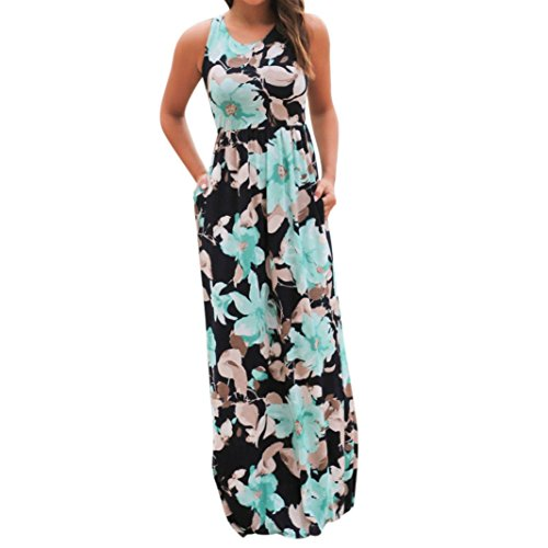 VJGOAL Damen Kleid, Damen Mode Sommer ärmellos Blumendruck Maxi Kleid mit Taschen Strand Lange Kleidung (XL / 40, Blau)