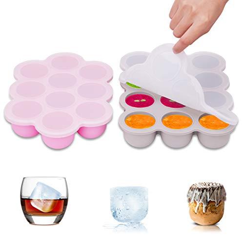 Vassoio per alimenti surgelati ZOUNICH - Ideale per alimenti per la prima infanzia, conservazione del latte, cubetti di ghiaccio per dessert, whiskey - per congelatore, lavastoviglie e forno