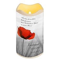 LED Vela Plástico Temporizador Sensor de luz 18x10 cm Interior + Exterior intermitente Llama Vela memorial Día de la muerte individualizado personal con nombre (Motivo 5)