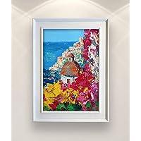 Flowers in Positano Italy Painting Original Amalfi Coast Seascape Wall Art Home Decor Gift