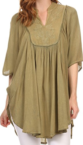 Sakkas 3790 - Martina Delicate gestickte Krawatte Dye Poncho Top / Cover Up - Solid Sage Green - OS (3 Green Sage X)
