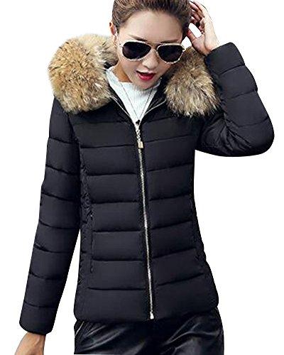 Daunenjacke Damen Jacke Parka mit Kapuze Mit Fell Kapuze Outdoor Daunenmantel Wintermantel Schwarz M
