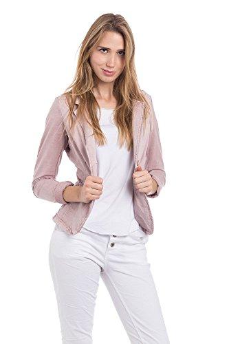 Abbino 15426 Blazer Sakko Jacke Damen - Made in Italy - 6 Farben - Damenblazer Damenjacke Frühjahr Sommer Herbst Winter 2 Knöpfe Freizeit Hüftlang Sitzend Sportlich Lässig Sexy - Rosa - XL 40