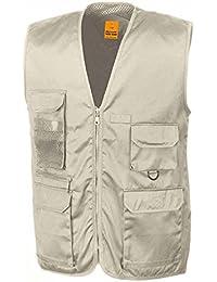 RESULT - veste sans manches gilet safari reporter multipoches BODYWARMER - R045X - beige - mixte homme / femme