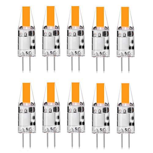 Zikey 10er Pack G4 2W LED Lampen Kein Flackern, Warmweiß 3000K, 210lm COB Glühbirnen, Ersatz für 20W Halogenlampen, 12V AC/DC, G4 LED Leuchtmittel Birne, Nicht Dimmbar