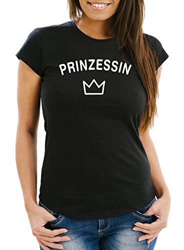 Damen T-Shirt Prinzessin Krone Princess Crown Slim Fit Moonworks® Schwarz