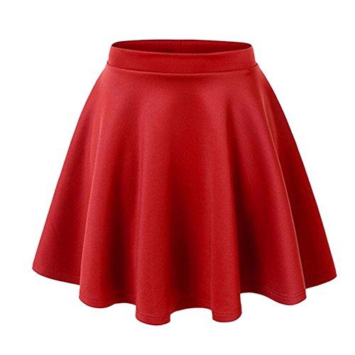 semen Damen Mädchen Basic Solid vielseitige dehnbaren informell Mini Skater Rock Winter Kurz Knielang High Waist Skirt