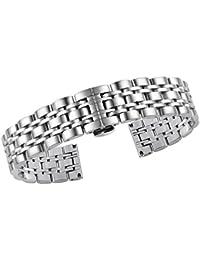 pulseras de reloj de metal de lujo de 20 mm de los hombres de las mujeres inox reemplazos correa hebilla de despliegue de plata con pulsador puentes desmontables