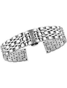 20mm der Frauen der Männer Luxusmetallarmbändern inox Band Ersatz Silber Faltschließe mit Druckknopf abnehmbar...