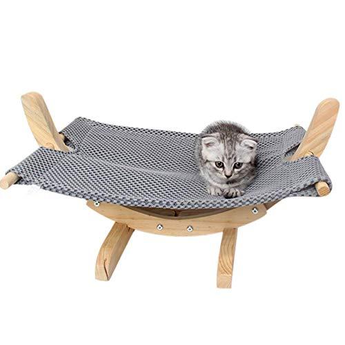 Usuny Katze Hängematte Bett Atumungsaktiv Holz Rest Schlaf Weich Komfortable Haustiere Liefert - Grau (Hängematte Betten Zuhause)
