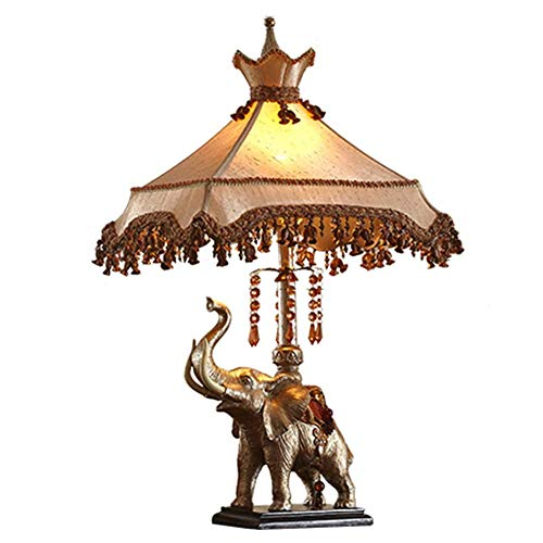 CYHX Lámpara de Escritorio Retro Sombra de Tela clásica con Cristal Colgante Creativo Resina Elefante Lámpara de Mesa Estudio Oficina Dormitorio Lámpara de Lectura de cabecera