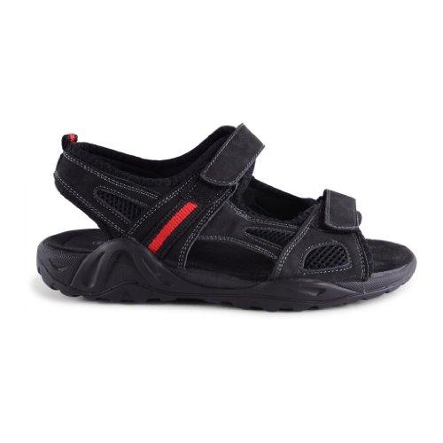 Footwear Sensation , Herren Sandalen Black Velcro with Red Stripe