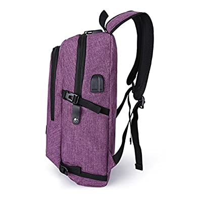 Anti-theft Backpack,35L Oxford Cloth Daily Waterproof Hiking Laptop Daypack Backpack with USB Charging Port and Headphone Interface & Password Lock Rucksack Backpack for Mens,Womens,Students(Purple) - casual-daypacks