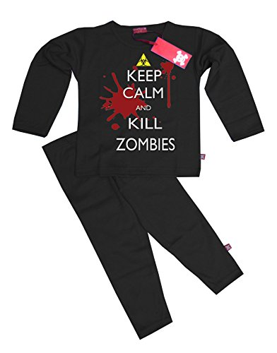 "& PER BAMBINI CON SCRITTA ""KEEP CALM AND KILL ZOMBIES, PIGIAMI, COLORE: NERO Nero  nero"