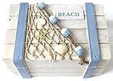 BEACH Box 17,5 cm Holz weiss-hellblau Shabby Landhaus maritim