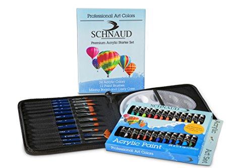 SCHNAUD Acryl-Farben-Set + Gratis Acryl-Farben-Buch 50 Seiten auf Deutsch (E-Book), 24 Acrylfarben, 12 Verschiedene Künstler-Pinsel + Mischpalette in Einer Hochwertigen Pinselmappe