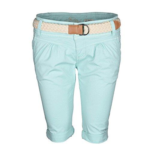 f17accd99db9 Fresh Made Damen Short Sommer kurze Hose Chino Shorts inkl. Bermuda Gürtel  B458 Türkis