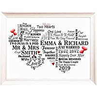 Wedding Gift Personalised with Names, Word Art Gift for Bride and Groom, Typography Poster, Wedding Card P215
